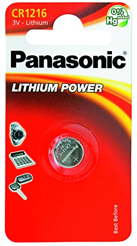 Panasonic CR1216 - Pilas (Litio, 3V, 25 mAh), acero inoxidable