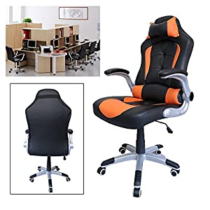 51cKij9olIL. SS300  - HG-silla-giratoria-de-oficina-silla-de-juego-confort-premium-reposabrazos-acolchados-silla-de-carrera-capacidad-de-carga-200-kg-altura-ajustable-negro-naranja
