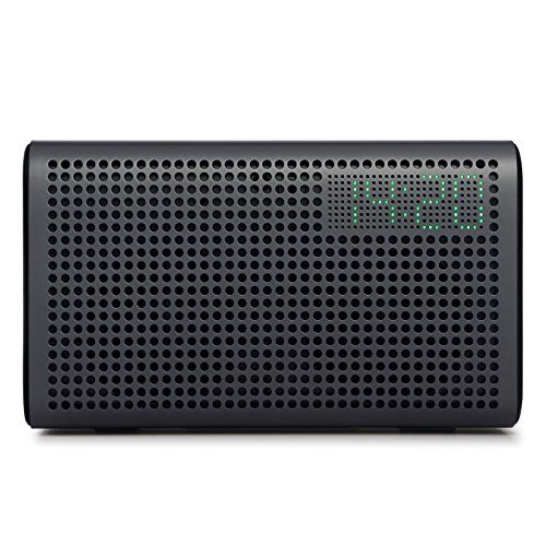 GGMM E3 Multiroom Lautsprecher Wi-Fi/Bluetooth, Airplay 20W Stereo Sound, LED Uhr/Wecker, Schwarz
