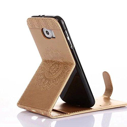 Samsung Galaxy S6 Case, Vertical Flip-Standplatz Fall Geprägte Blumen Muster Leder Fall Deckung mit Wallet-Card Slots für Samsung Galaxy S6 ( Color : Red , Size : Samsung Galaxy S6 ) Gold