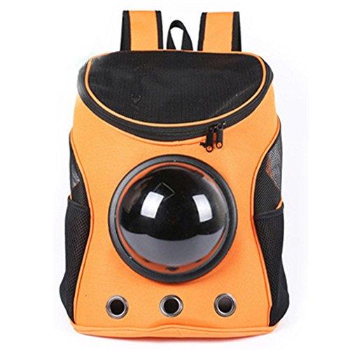 IACON Raumkapsel Haustier Rucksack Haustier Carrier Brust Tragetasche Oxford Tuch Outdoor Reise Tragbar Transport Rucksack für Haustier Hunde & Katzen (2-Orange) (Kind Orange Astronaut Kostüme)
