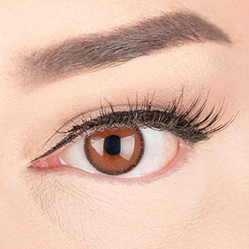 Meralens natürlich braune dunkelbraune Circle Lenses brown Mirel Choco mit Behälter ohne Stärke 14mm Big Eyes farbige Kontaktlinsen