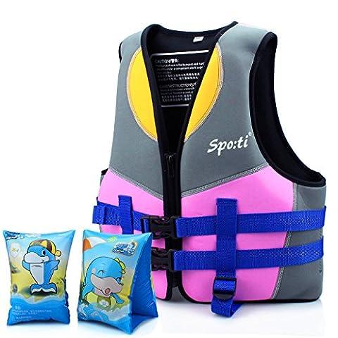 Genwiss Enfants Veste de bain / Gilet de natation 5 à 6 ans - Rose comprendre Nager Arm Band
