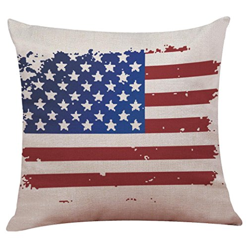 LuckyGirls Kissenbezug 45 x 45 cm Vintage American Flag Baumwolle Leinen Sofa Taille Wurf Kopfkissenbezug Pillow Cover Home Decor (C)