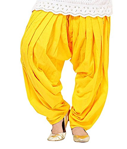 Shiva Collections Women\'s Cotton Patiala Salwar (scs1021_Yellow_Free Size)
