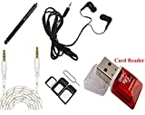 #7: Samsung Galaxy Note 3 Neo SM-N7505 Mobile Accessories 5in1 Combo, MuditMobi™ Earphone/Handfree + Aux Cable + Stylus Tocuh Pen + Card Reader + Sim Adapter Mobile Accessories Combo For - Samsung Galaxy Note 3 Neo SM-N7505 (Color May Vary)