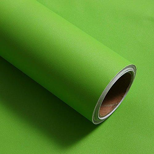 YUELA Mobili per montaggio a parete impermeabile finto legno carta da parati Wood-Grain guardaroba ristrutturazione auto in pvc adesivo spessa Paper-Desktop ante di armadi, Verde opaco, Extra-Large