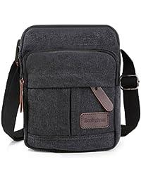 Koolertron Männer Retro Kleine Cross Body Handtasche (schwarz - groß)