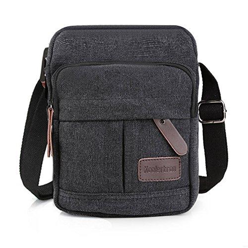 Koolertron Männer Retro Kleine Leinwand-Cross Body Handtasche 17.5x21x10 cm (kahki) schwarz - groß