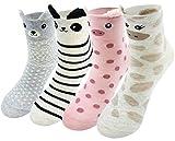 LITTONE® - 4 Paires - Chaussettes - Chaud chaussettes imprimé animal de couleur Chaussettes - Femmes (LTNWMSOCK-A4SK001)