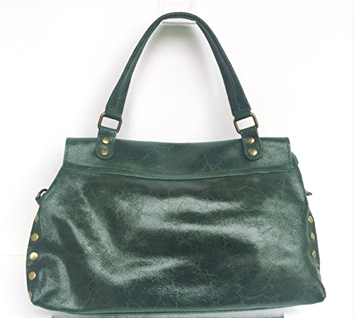 Superflybags Borsa A Spalla In Vera Pelle modello Rodeo Made In Italy Verde scuro