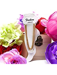 Satyam Kraft Stylish Golden Colour Three Layer Chain Anklet Stone For Girls.for Women,gift For Women,accessory...
