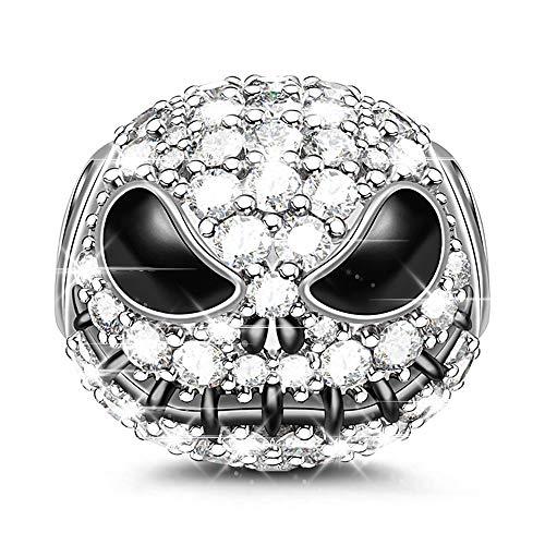 Charm Anhänger 925 Sterling Silber Bead Charms mit Zirkonia Charm Schmuck für alle Armbänder Halsketten Geschenke Bijouterie für Halloween Damen Mädchen Baby (Silber) ()