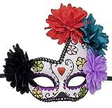 Mujeres Mexicano Dia de los Muertos Máscara Azúcar Cráneo Flor Halloween...