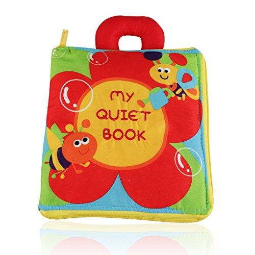 OFKPO Baby Tuch Buch,Blumen Stickerei Stoffbuch,Baby Lernen Pädagogische Buch
