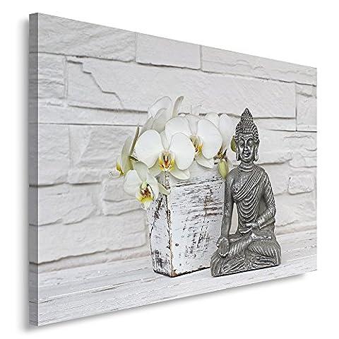 Feeby Frames. Tableau Déco - 1 partie - 50x70 cm, Impression sur Toile Décoration Murale Image Imprimée, BOUDDHA, ORCHIDÉE, FLEUR, ZEN, GRIS,