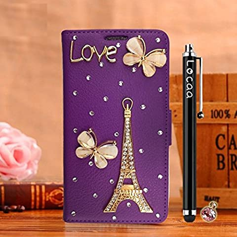 Locaa(TM) Pour Nokia Lumia 930 929 Lumia ICON Nokia930 3D Bling Case Coque Étui Cuir Qualité Housse Chocs Couverture Protection Cover Shell Etui For Phone Avec [Couleur 2] Eiffel papillon - Violet