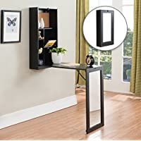Kings Brand Black Finish Wood Fold-Out Convertible Wall Mount Desk With Mirror