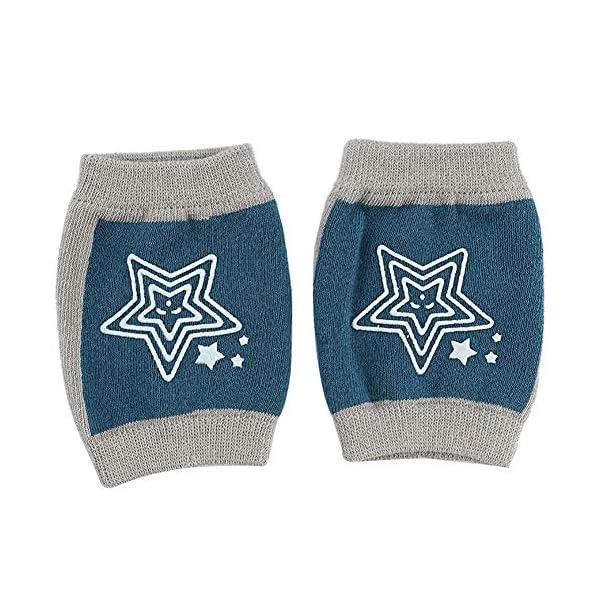 JAWSEU - 1 par de rodilleras de algodón para bebé, para gatear, de punto, con estampado de estrellas, para niños y niñas… 2