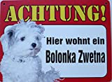 Schild 14x19cm - Hier wohnt ein Bolonka Zwetna Hund Haus Alu Coupon dipond
