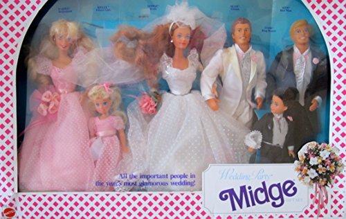 Barbie MIDGE WEDDING PARTY Gift Set w 6 DOLLS & More: BARBIE, KEN, MIDGE, ALAN, KELLY & TODD Dolls (1990) - Ken Barbie-party