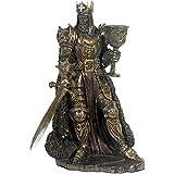 Figur des König Arthur Figur Artus Britannien England Ritter bronziert