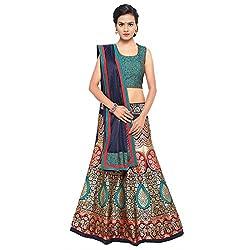 Styles closet women Taffeta Jacquard Lehenga Choli Turquoise Blue