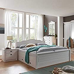 Pharao24 Schlafzimmer Komplettset im Landhausstil Weiß Kiefer massiv