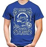 Alte Schule Simson Männer und Herren T-Shirt | Verschiedene Modelle S50 S51 Schwalbe Star Duo Habicht DDR (L, Blau Druck: Schwalbe)