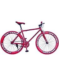 """Wizard Industry Helliot Soho 5302 - Bicicleta fixie, cuadro de acero, frenos V-Brake, horquilla acero y ruedas de 26"""", color rojo"""