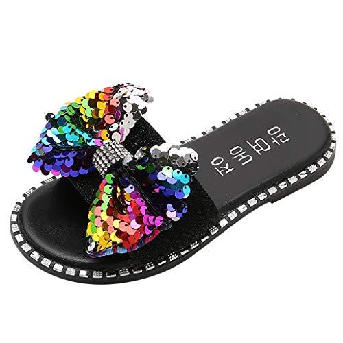 YWLINK NiñAs Zapatos De Moda Lentejuelas Diamantes De ImitacióN Arco Lentejuelas Princesa Zapatillas Sandalias Fiesta En La Playa Antideslizante Casual Zapatos Caseros Regalo CumpleañOs(Negro,36EU)