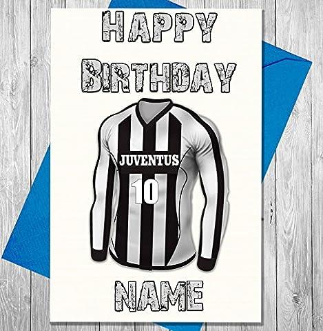 Juventus Football carte d'anniversaire personnalisé–n'importe quel nom et numérotées pour homme