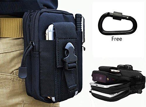 Gadget Tasche (Shuweiuk Universal Mehrzweck Kapazität Oversize EDC Tasche Tactical Beutel Smartphone Holster Security Pack Carry Accessory Kit Tasche Gürtel Schlaufen Tasche Gadget Geld aus, Pocket schwarz schwarz)