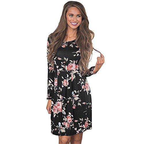 Schuhe Schwarz Kleid Größe 9 (Vruan Frauen Casual Kleid Blumendruck Langarm A-Linie Kleider 4 Farbe Größe 6-12)
