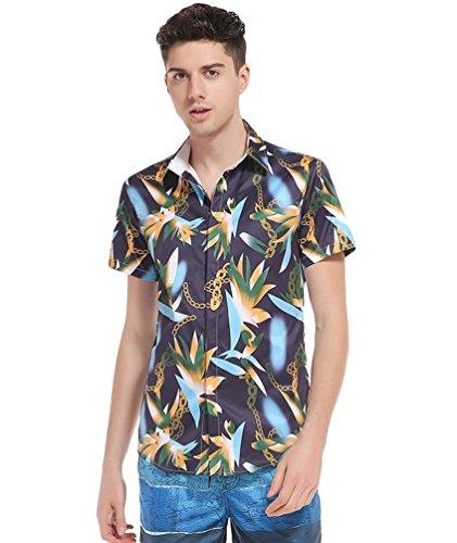 Baymate-Hombre-Camiseta-de-Manga-Corta-Impresin-Camisa-Hawaiana-Playa-Camiseta-Tops