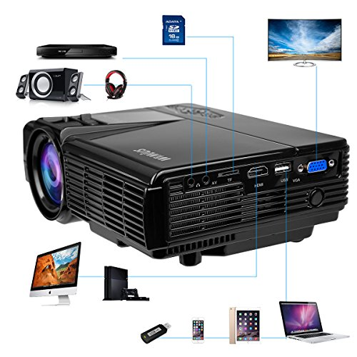 Projector WiMiUS LED Video Home Cinema Projector 1800 lumen 150    Display with Tripod HDMI Support 1080P Portable Mini LCD Multimedia Projector Compatible for Home Theater Movie Games and Parties