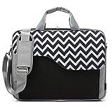 CoolBell 17,3 Zoll Laptop Tasche Nylon Schultertasche mehrfach Abteil Messenger Bag Handtasche Aktentasche Businesstasche Notebooktasche für Laptop/Tablet / MacBook,Schwarz-Welle