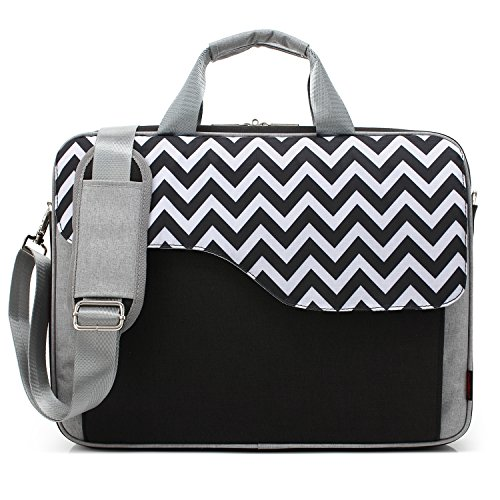 CoolBell 17,3 Zoll Laptop Tasche Nylon Schultertasche mehrfach Abteil Messenger Bag Handtasche Aktentasche Businesstasche Notebooktasche für Laptop/Tablet / MacBook,Schwarz-Welle