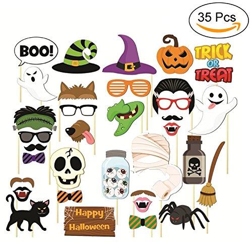 Jamhoodirect puntelli di halloween photo booth - junhope halloween terrore maschera puntelli di halloween fai da te su un bastone - happy halloween decorazioni - pacco di 35
