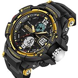 Sports Men Quartz Watch Rubber Strap LED Analogue &Digital Waterproof Casual Wristwatch,Yellow