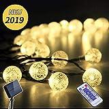 InnooTech 4m 40er LED Solar Warmweiß Kugel Lichterkette mit 12 Tasten Fernbedienung mit 8 Modi und 2m Zuleitungskabel | 3.7V 1200mAh | 18650 Batterie (40er)