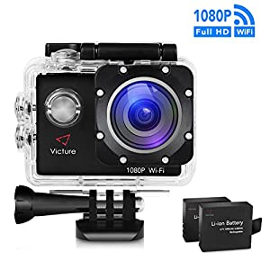 Victure Sports Action Camera WIFI 14MP Full HD 1080P Waterproof Motorcycle Helmet Cams 30M Underwater Diving Camera with 2 Inch LCD Screen 170° Wide Angle Lens 2 Pcs Rechargeable Batteries and Kit of Accessories