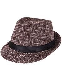 AIEOE - Sombrero Hombre Boda Panamá Jazz con Ala Ancha Gorro de Copa  Disfraz Trilby Hat 97611234ec3