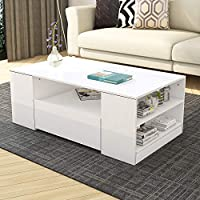 2 Storage Drawers with Shelves Coffee Tea Table Modern High Gloss Living Room Furniture (White)