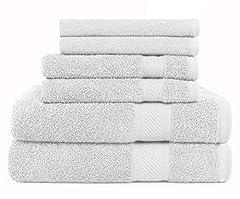 Idea Regalo - SweetNeedle - Daily Use Set asciugamani a 6 pezzi, bianco - 2 asciugamani da bagno 68x126 CM, 2 asciugamani 40x70 CM, 2 salviette 30x30 CM - 100% cotone Ringspun, pesante e assorbente