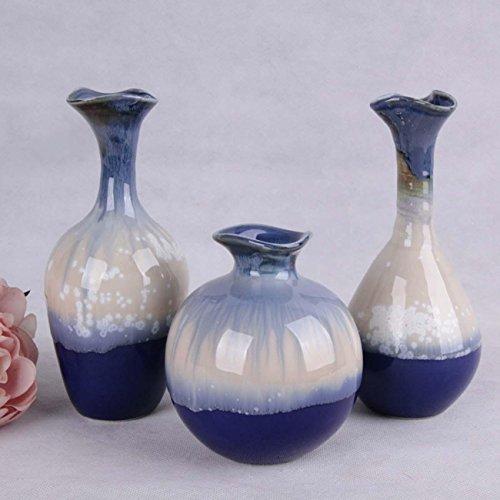 Blumen-Vase, Keramik-Vase Set Handwerk, Blumen Und Pflanzen Dekoration, Ornament Für Wohnzimmer Schlafzimmer Studie, Ideale Geschenke, 3 Sets , a set of 3 (Anzug Gestickte Perlen)