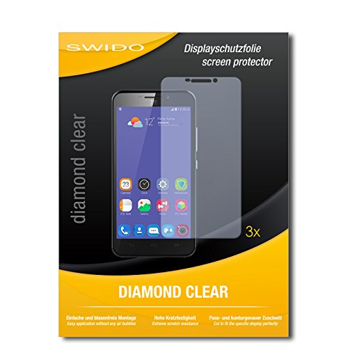 SWIDO 3 x Schutzfolie ZTE Grand S3 Bildschirmschutz Folie DiamondClear unsichtbar