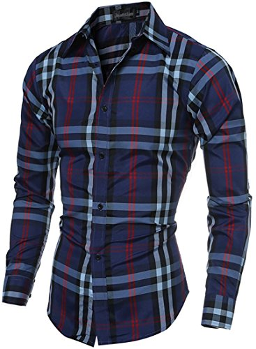 Jeansian Hommes Chemise Manches Printing Lattice Longues Slim Fit Casual Mens Fashion Shirt 84B3 Navy