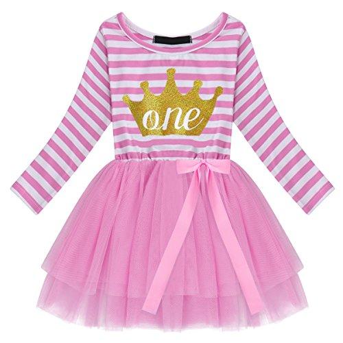 OBEEII Baby Mädchen Geburtstag Kostüm Neugeborenen Streifen Muster Drucken Mesh Tüll Kleid PrinzessinTutu Rock mit Bowknot für Geburtstag Party Fotografie für Kinder Rosa Krone (1 ()