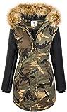 Damen Winter Jacke Parka Camouflage Mantel Army Jacke Bikerjacke Winterjacken Outdoorjacke Damenmantel Kunstleder Ärmel Kapuze D-349 Khaki XL
